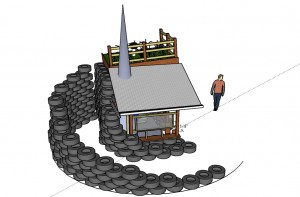 Tire Retaining Wall for Earthberm Ramp