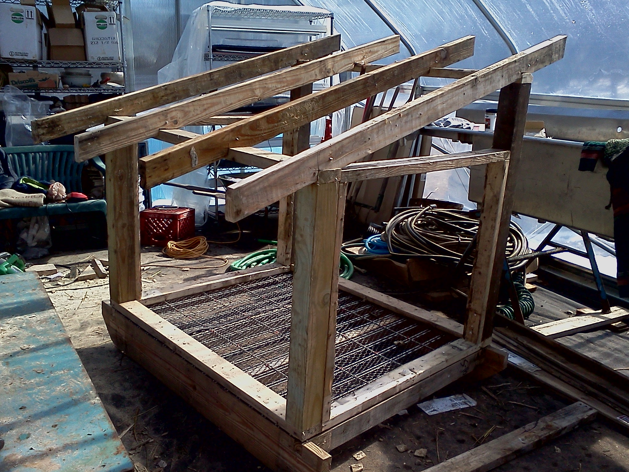 Chicken coop framing made from reclaimed materials